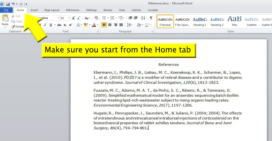 Screenshot of Microsoft Word. Make sure you start from the Home tab