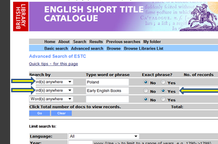 English short title catalogue : advanced search boxes