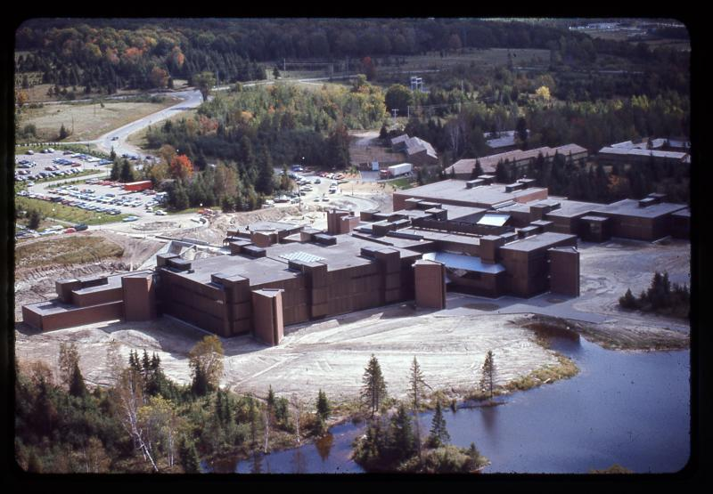 Aerial view of the newly-completed College Education Centre in North Bay, ON, circa 1971. Photo ID: OIMC-003-003-008