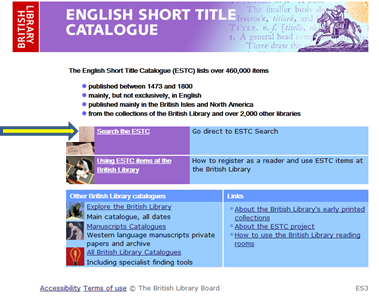 English short title catalogue screenshot