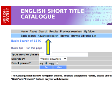 English short title catalogue : advanced Search